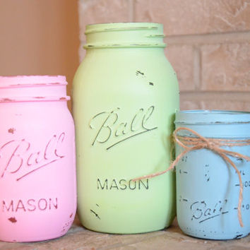 Shabby Chic Painted Mason Jars - Set of 3 - Mint, Pink, & Blue