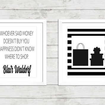Fashion Art Print Set - Shopping Wall Art - Blair Waldorf Art - Vanity Decor - Set of 2