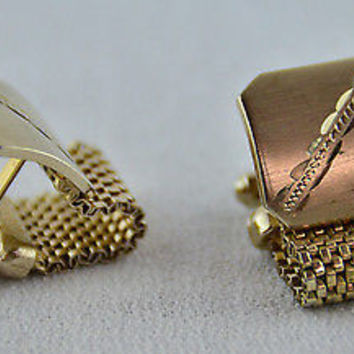 Swank Wrap Around Cufflinks Mesh Brushed Gold Metal Design