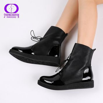 2017 Newest Women Sexy Ankle Boots Female Fashion Patent PU Leather Platform Woman Shoes Plus Size Boots For Women Botas Mujer