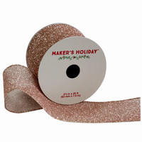 Metallic Rose Gold Holiday Ribbon by Maker's Holiday 2.5'' x 25' | Jo-Ann