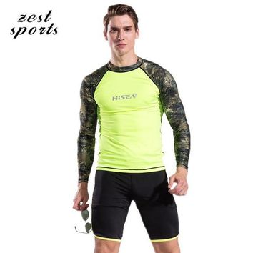 DCCK7N3 S060,  Men beach T-shirt/shorts, Two-piece swimsuit, Long sleeves sunscreen, Surfing clothes, Quick-dry Breathable