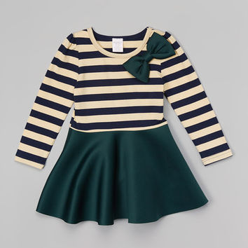 Leighton Alexander Green Stripe Dress - Toddler & Girls | zulily
