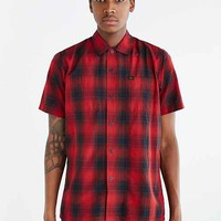 OBEY Short-Sleeve Menlo Plaid Woven Button-Down Shirt- Red