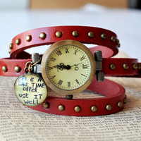 Vintage Look Leather Wrap Watch, Red Leather Vintage Watch, Wrist Watch Women Accessories Inspirational Quote