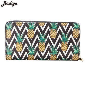 Badiya Pineapple Print Casual Women Wallets Large Capacity Girls School Purse Ladies Long Clutch Wallets