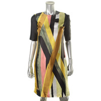 St. John Womens Silk Printed Wear to Work Dress