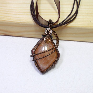 Diamond Shaped Orange Sunstone Copper Pendant Necklace, Wire Wrapped Rustic Copper Jewelry