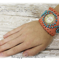 Boho Coral beaded cuff watch womens - FREE SHIP with any other item - fashion leather watch band rhinestone timepiece trendy ladies  W20
