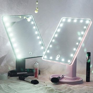 8/16/22 LED Touch Screen Makeup Mirror 360 Rotated Tabletop Cosmetic Light Up Mirror