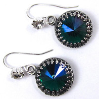 Emerald Glacier Swarovski Crystal Earrings with Lots of Sparkle