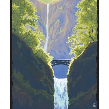 Multnomah Falls, Oregon - Maiden of the Falls Art Print by Lantern Press at Art.com