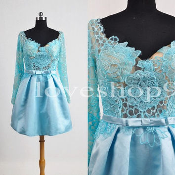 Blue See Through Lace Bridesmaid Dresses long Sleeves Prom Dresses Party Dresses Evening Dresses Wedding Events 2014