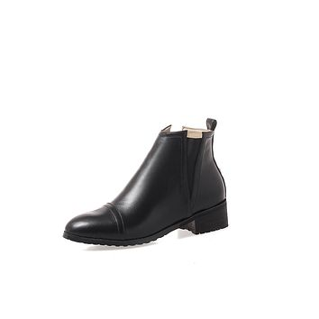 Pointed Toe Chelsea Boots Low Heels Shoes 9985