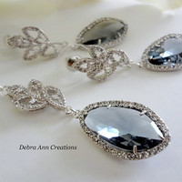 Grey Crystal Necklace Earrings 2-PC Set Charcoal Grey Wedding Bridal Bridesmaid Formal Jewelry Mother of the Bride Groom Gift Dark Gray