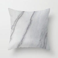 Sophisticated Polished White Marble Throw Pillow by Pixel404
