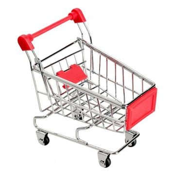 1PCS Recent Supermarket Shopping Mini Trolley Phone Holder Office Desk Storage Toy Cart Baby Toy Handcart Accessories