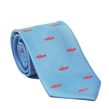 Trout Necktie - Light Blue, Printed Silk