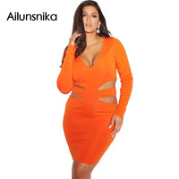 Ailunsnika 2017 Orange Cut Out Long Sleeve Mini Dress Women Curvy Plus Size Party Club Wear Bodycon Dress