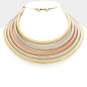 "16"" multi strand 5 layer metallic choker snake coil necklace .30"" earrings"