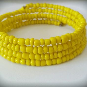 Yellow Seed Bead Memory Wire Wrap Bracelet