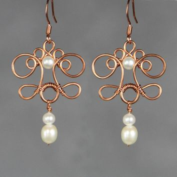 Pearl Rococo scroll  Copper wire chandelier earrings Bridesmaids gifts Free US Shipping handmade Anni Designs
