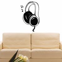 Wall Decal Vinyl Sticker Music Headphones Decor Sb393