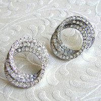 Rhinestone Circle Post Earrings Vintage 1970's Costume Jewelry Ballroom Formal Prom Pierced
