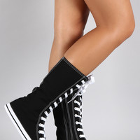 Lace Up Mid Calf Sneaker