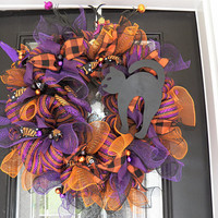Halloween Wreath, Halloween Decoration, Halloween Door Hanger, Ready to Ship