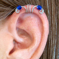 "No Piercing ""Crystal Double Up"" Ear Cuff for Upper Ear 1 Cuff Silver Tone Blue Crystals or 17 COLOR CHOICES"