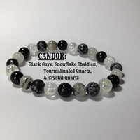 Candor: Black Onyx, Crystal Quartz, Snowflake Obsidian, & Tourmalinated Quartz Gemstone Stretch Bracelet