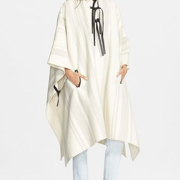 Women's 3.1 Phillip Lim Leather Trim Wool Blend Poncho - Ivory