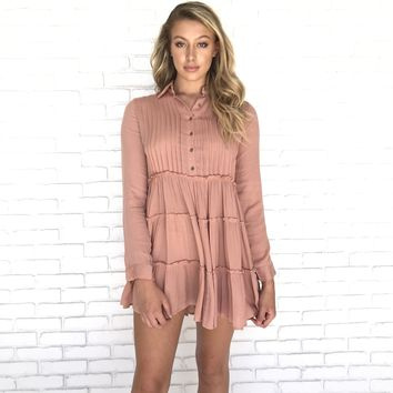 No Stress Long Sleeve Pleated Dress