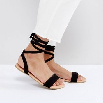 ASOS FIONA Wide Fit Tie Leg Flat Sandals at asos.com