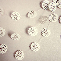 Wedding Garland - Christmas Garland - Winter Wedding - Vintage Wedding - Christmas Snowflakes