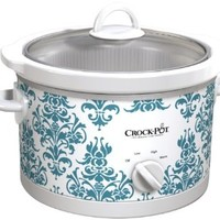 Crock-Pot SCR450-DK Slow Cooker, 4.5-Quart, Teal Damask Pattern