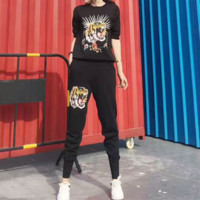 """Gucci"" Women Casual Fashion Knit Tiger Head Embroidery Middle Sleeve Trousers Set Two-Piece Sportswear"