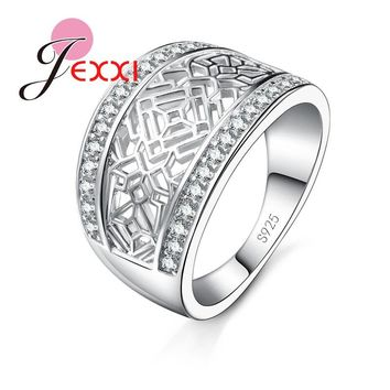 JEXXI Vintage Hollow Design Women Men Fashion Jewelry Band Ring For Wedding Engagement Cubic Zirconia CZ Crystal Jewelry