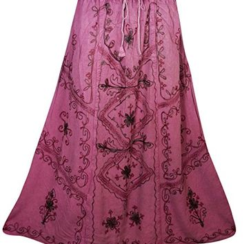 Mogul Womens Long Skirt Floral Embroidered Rayon A-Line Boho Flare Peasant Skirts (Pink 2)