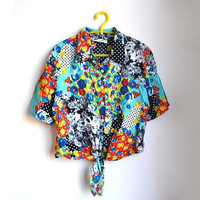 90s Tie Front Crop Top Cropped Blouse Vintage Floral Polka Dot Top Womens Medium M