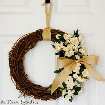 Mini Rose Grapevine Wreath, Front Door Wreath, Creamy Beige Rose Wreath,  Cottage,