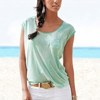 Mint & Grey Python Print Tee Two-Pack from VENUS