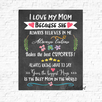 Gift for Mom Persnalized Mothers day printable Watercolor floral Mother's day print Chalkboard Poster 16x20 8x10 5x7 11x14 INSTANT DOWNLOAD
