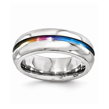 Rounded Rainbow Titanium Ring