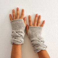 Fingerless Gloves Wrist Warmers Mittens Beige Sand Neutral Earth Tones Warm Cozy Women Gloves Women Accessories