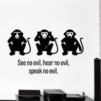 Wall Decal Three Wise Monkey See No Evil Hear No Evil Speak No Evil Unique Gift z4008