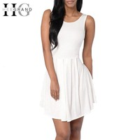 Summer White Women Mini Dress Fashion Women Solid Dresses