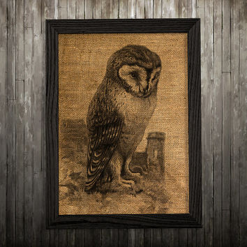 Owl art Burlap print Animal print Bird poster BLP264