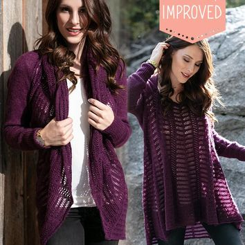 Grace & Lace (New & Improved) Cold Weather 2-Fit Knit Cardigan (Plum)